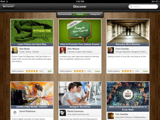 udemy screenshot 520x390 Udemy releases an iPad app, taking its 5,000 course online learning platform mobile