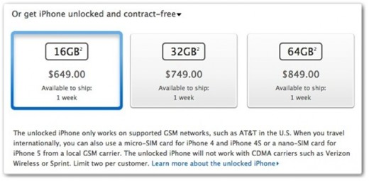 unlocked 520x255 Apple begins selling unlocked iPhone 5 in the US, starting at $649