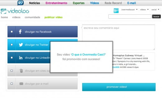 videolog overmediacast promote 520x315 Videolog partners with OvermediaCast, brings social analytics to Brazilian video producers
