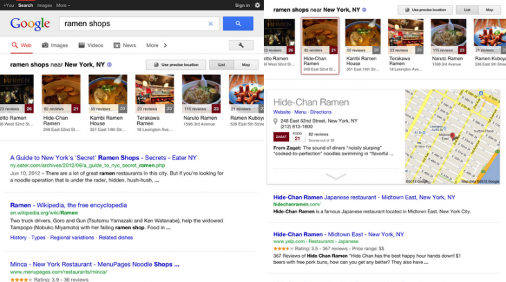 02 card ramen shops 730x407 Google updates local search experience for US Apple iPad users with a new carousel feature and more
