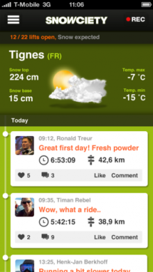 92388 screenshot dashboard large 1355062154 220x390 'Path for skiers' Snowciety hits Android, now more social, helping you share adventures on the slopes