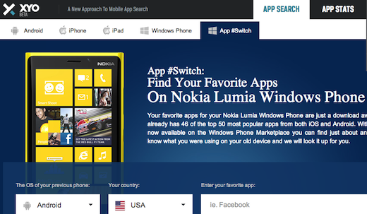 App Switch 150010 Nokia and Xyo team up to help Lumia owners find their favorite iOS & Android apps for Windows Phone
