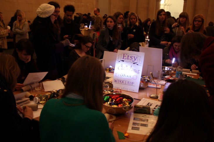 Attendees at the craft table making christmas crackers 730x486 Etsy nails it with a night market event at Londons Tate Britain gallery