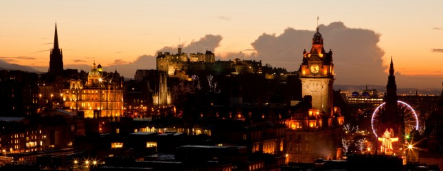 Sunset view of Edinburgh