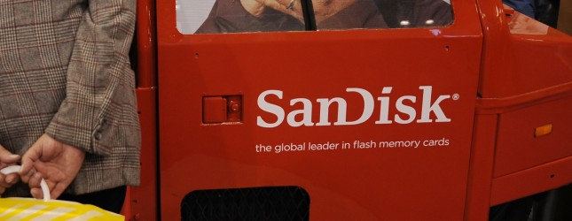 A man looks at the SanDisk media storage