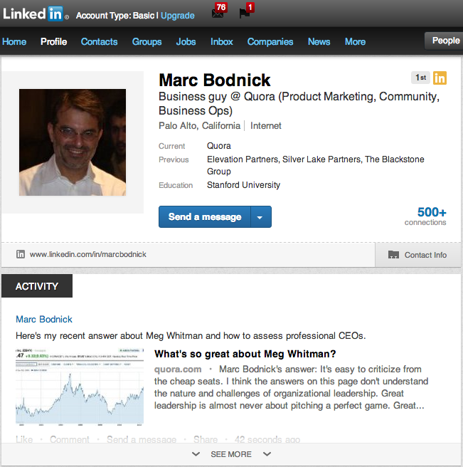 LinkedIn new profile screenshot