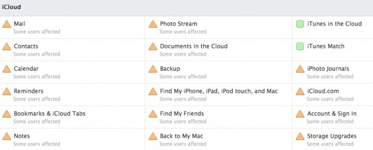 Screen Shot 2012 12 17 at 3.42.23 PM 730x294 Most of Apples iCloud services undergoing service disruptions