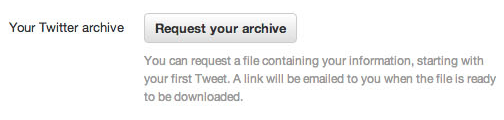 Screen Shot 2012 12 19 at 15.36.47 Let the archiving begin: Twitter starts rolling out option to download tweets to all users