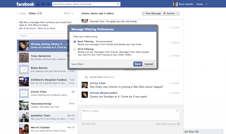 Screenshot 730x434 Facebook updates Messages feature with filtering, tests a service to let people pay to send them