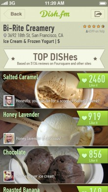 dishes 2 iphone 5 220x390 Dish.fm uses Foursquare, Yelp and Instagram data for a smarter way to find the perfect meal