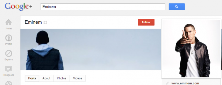 eminem googleplus 730x280 YouTube adds Google+ quick share for uploaded videos, Google+ profiles get YouTube tab
