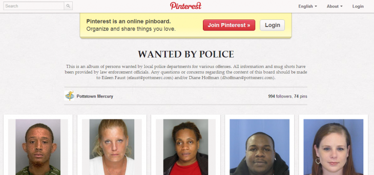 pinterest wanted 730x343 Local police post mugshots on Pinterest, leading to a 57% boost in arrests