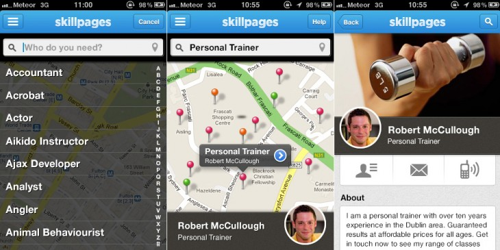 skillpages iphone app screenshots 730x365 Nearing 10M users with another every second, SkillPages launches iPhone app to find services quickly