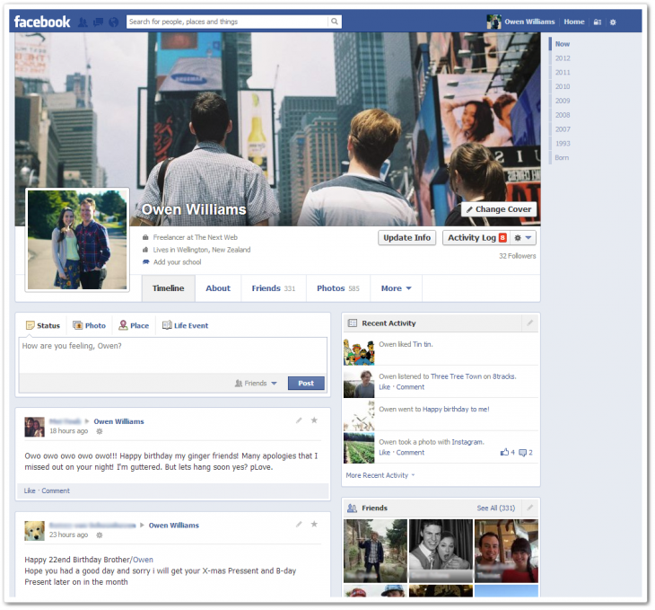 1 730x679 Facebook begins rolling out new single column Timeline with greater emphasis on messages [Updated]
