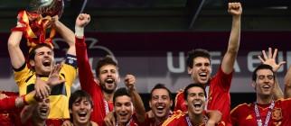 Spanish goalkeeper Iker Casillas holds t