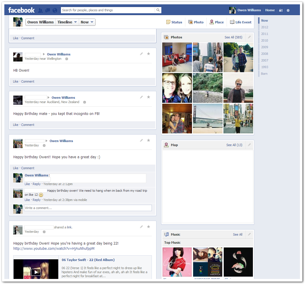 the revised About page but it does lists all the details that Facebook    Facebook Page Timeline Example
