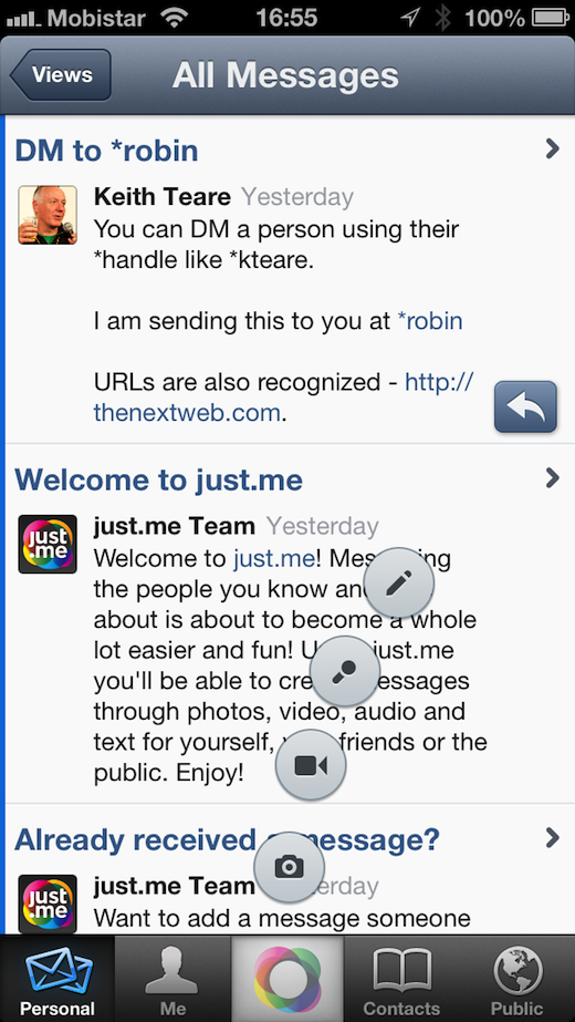 2013 01 25 16.55.03 Hands on with Just.mes unified messaging app for the iPhone