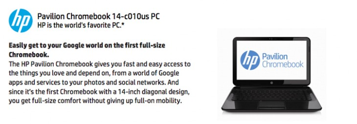 Chromebook 730x254 HPs new 14 inch Chromebook with 16GB SSD leaked in online store spec sheet