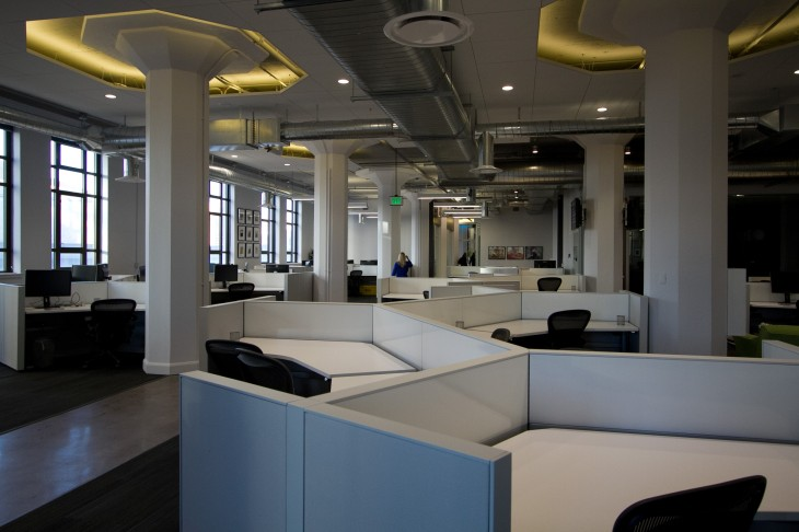 Yammer's desks span for as far as the eye can see. There are enough for 400+ people.