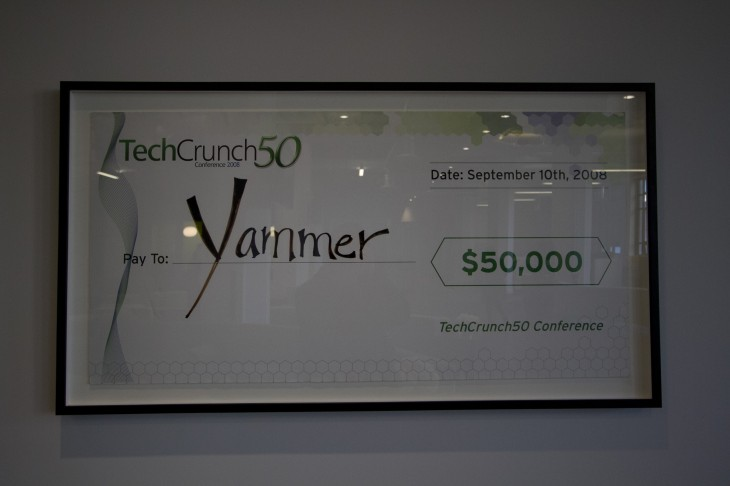 On a wall, Yammer has hung its TechCrunch50 award.