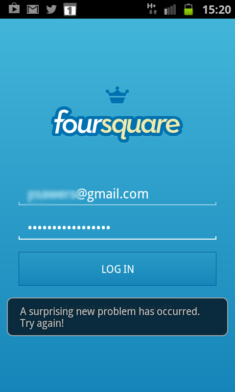 Log-in Foursquare