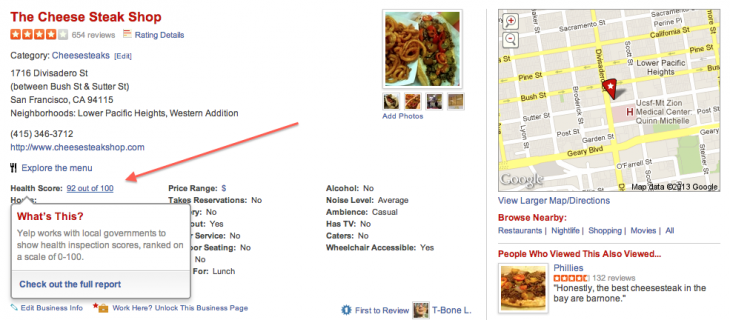 Screen Shot 2013 01 17 at 09.45.32 730x320 Yelp begins adding restaurant inspection scores to listings, starting in San Francisco and New York