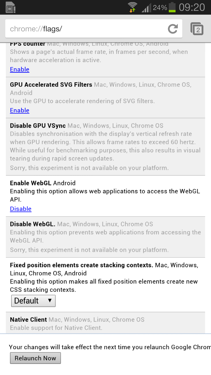 Screenshot 2013 01 25 09 20 30 Google finally makes it easy to enable WebGL support in latest Chrome for Android beta