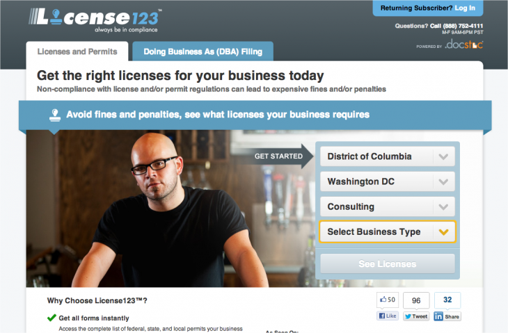 Snap 2013 01 07 at 11.59.42 730x479 License123 helps you find and file all the licenses, permits and DBAs you need to launch a company
