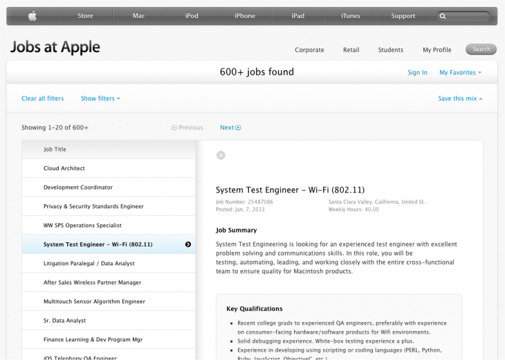 Apple job posting