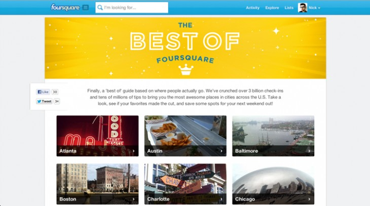 bestof4sq 730x407 After nearly 3 billion check ins, Foursquare reveals its top places across the US for 2012