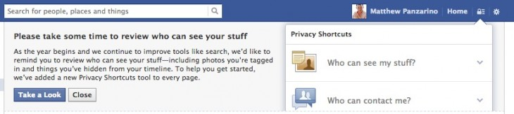 facebook privacy prompt 730x163 Facebook reveals how its new Graph Search feature works with your privacy settings