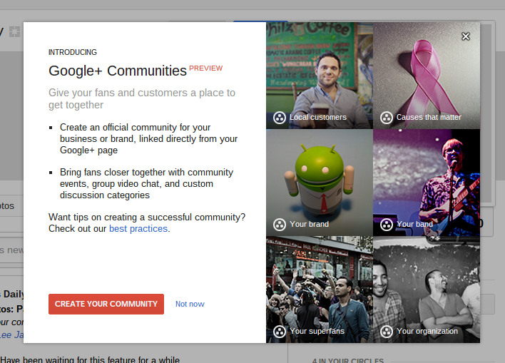 google plus pages communities Google starts prompting Google+ Pages to create their own Communities, teases Pause button feature