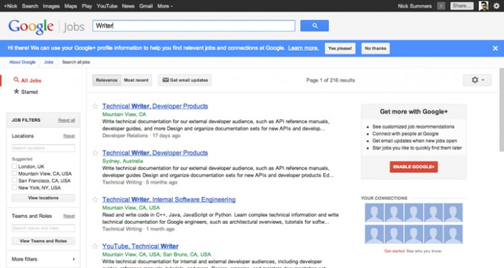 googlejobs1 730x389 Google integrates Google+ profiles into its company jobs board, adding one click applications and more