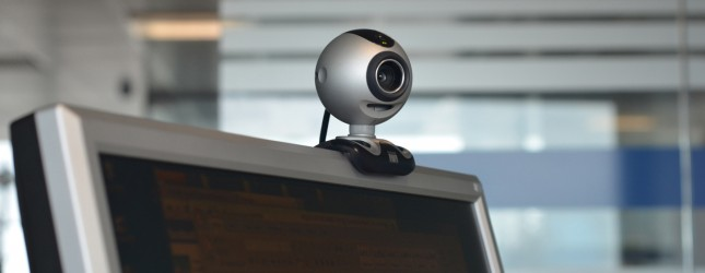 This photo shows a webcam on top of a co
