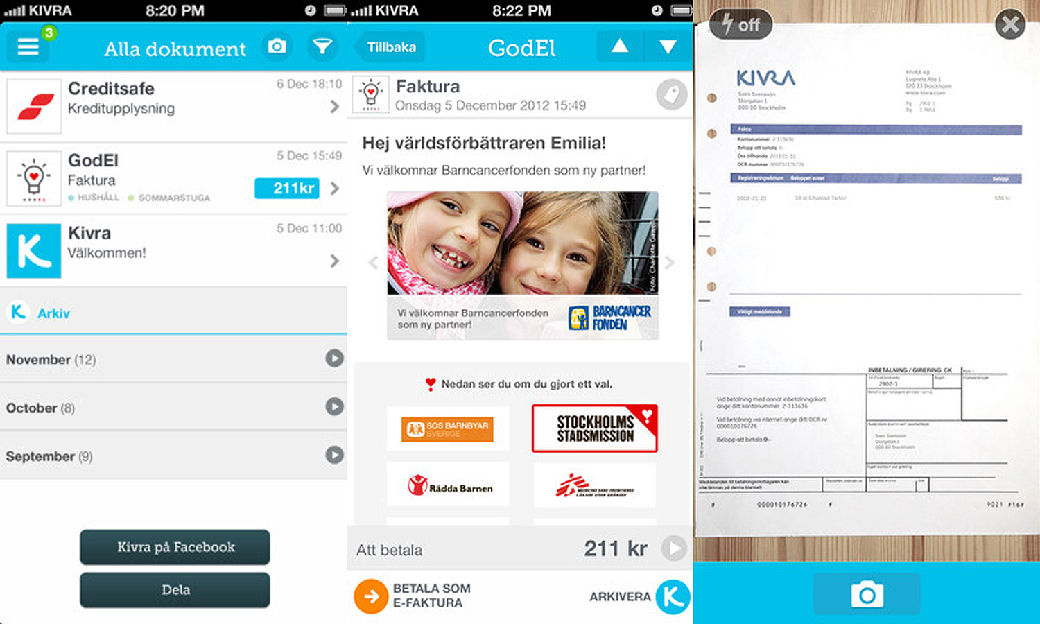 kivra mobile screens Swedish digital mailbox Kivra launches app and responsive web design for mobile