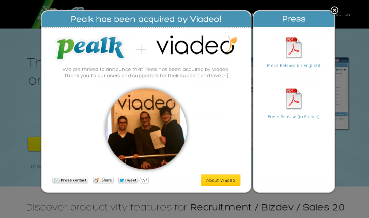 pealk 730x432 Now at 50m users, LinkedIn rival Viadeo acquires French startup Pealk and announces US innovation lab