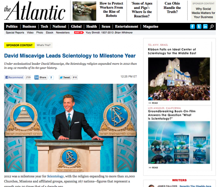 screen shot 2013 01 14 at 9.11.40 pm 730x630 The Atlantic backtracks and removes controversial Scientology advertorial [Updated]