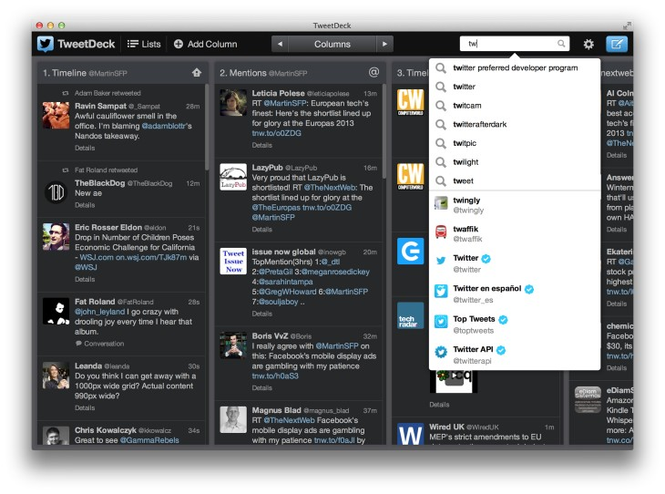 tweetdeck for mac 730x542 Twitter brings Tweetdeck for Mac on par with the Chrome version, with typeahead, people search and more