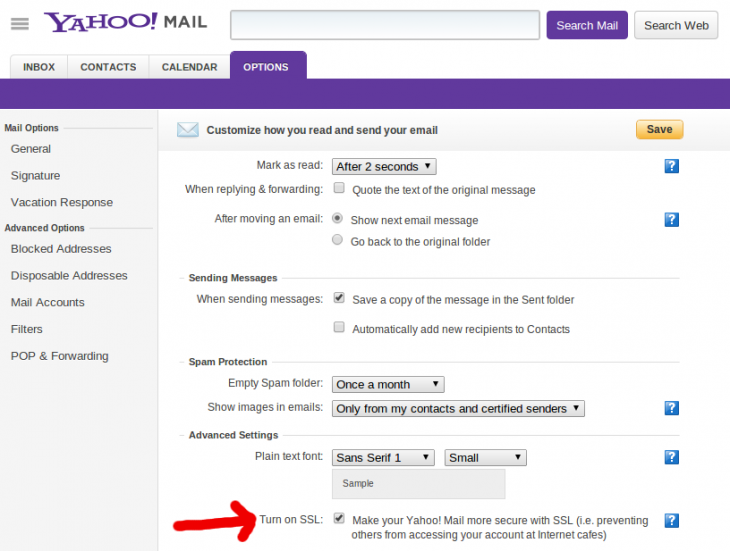 yahoo screenshot red 730x551 Yahoo Mail users quietly given HTTPS security option following pressure from privacy advocates