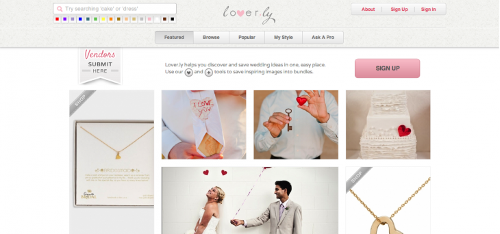 2012APRIL Loverly v.2 Site 730x342 Wedding planning startup Loverly reveals gorgeous redesign: We dive in