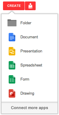 Create menu Google Drives Create menu now lets you add and access third party, Drive enabled apps