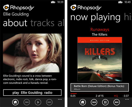 Rhapsodyscreens1 Rhapsody updated for Windows Phone 8 with better audio quality, offline playback and more
