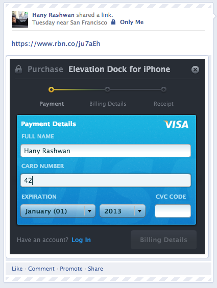 Screen Shot 2013 02 01 at 10.58.51 PM copy Ribbon raises $1.6m to scale its payment product, adds Facebook in stream support, and unveils its API