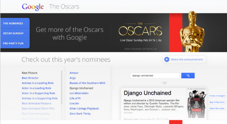 Screen Shot 2013 02 15 at 1.44.46 PM 730x399 Just in time for the Oscars, Google unveils its Academy Awards site and a 2012 Year in Film movie