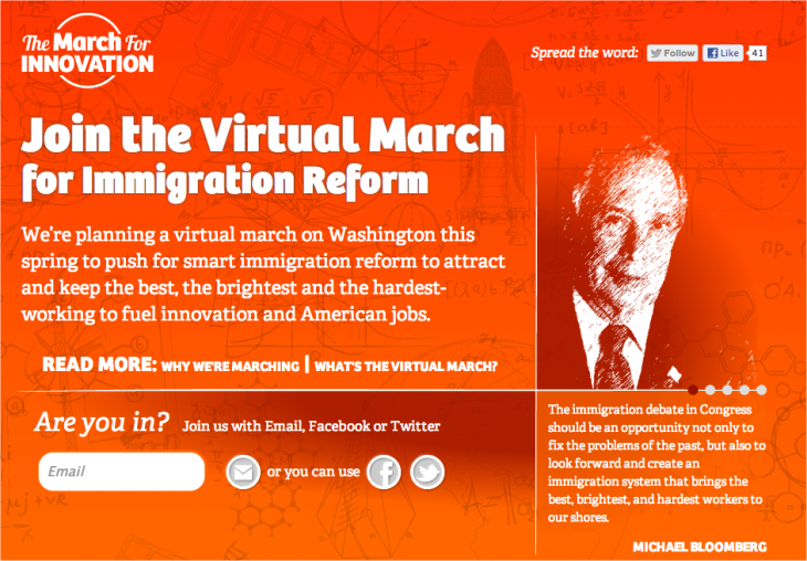 Snap 2013 02 24 at 20.09.24 730x508 Silicon Valley and NYC Mayor Bloomberg launch 'March for Innovation' to help reform US immigration