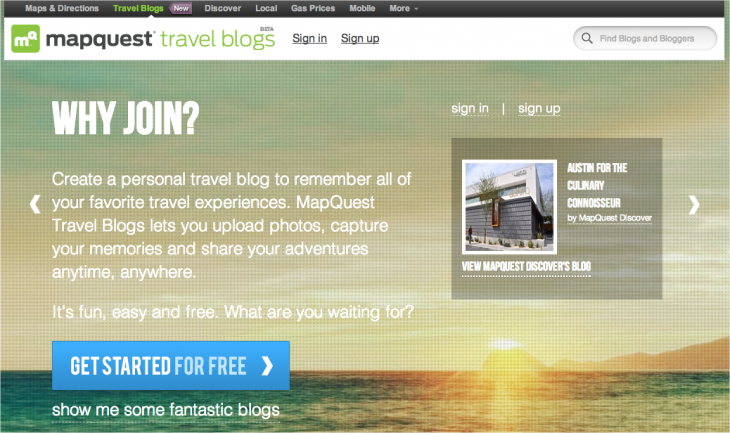 Snap 2013 02 28 at 11.20.47 730x433 MapQuest touts its Everlater acquisition, launches free Travel Blogs for the Web and iOS
