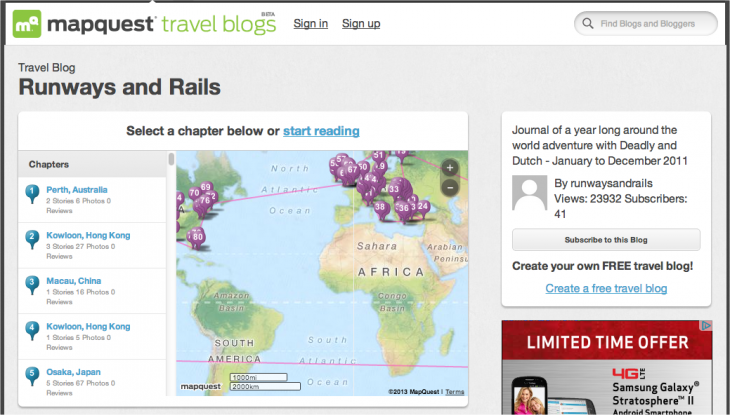 Snap 2013 02 28 at 11.27.35 730x415 MapQuest touts its Everlater acquisition, launches free Travel Blogs for the Web and iOS