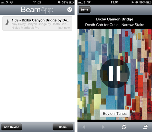 beamappscreen2 BeamApp lets you beam music, maps and more between iPhone and Mac, and pick up where you left off