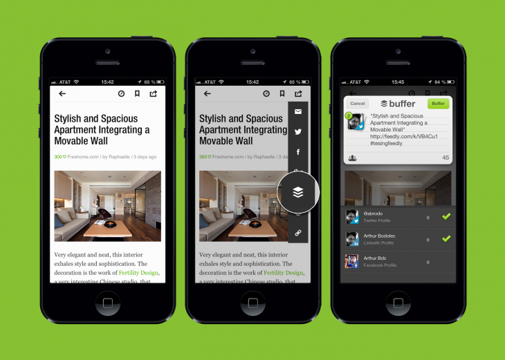feedly buffer 730x521 Now at 500k users, Buffer partners with Feedly to focus on social news reader integrations