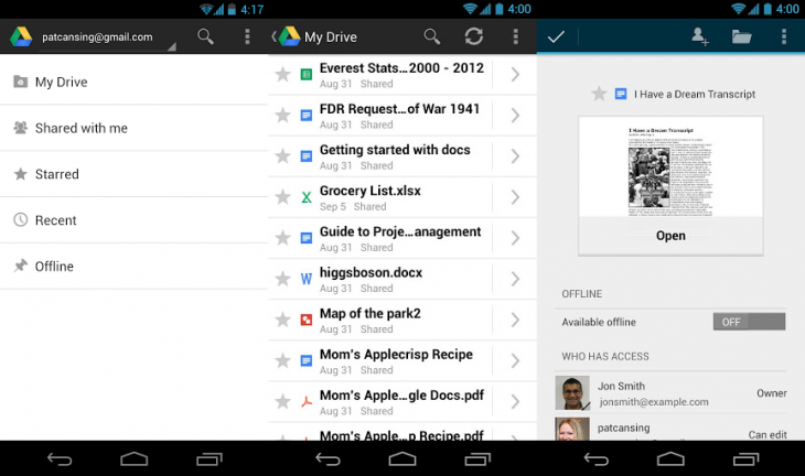 google drive 730x432 Google releases faster Drive app with video streaming support on Android 3.0+, pinch to zoom for presentations